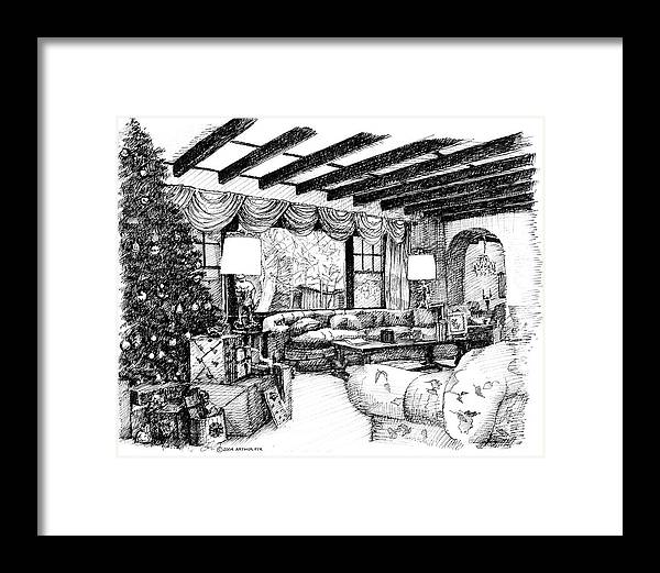 Christmas Framed Print featuring the drawing Christmas Home by Arthur Fix