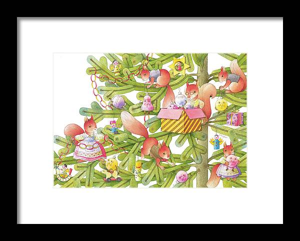 Christmas Christmastree Christmastreetoys Squirrels Christmascard Winter Framed Print featuring the drawing Christmas tree and squirrels by Kestutis Kasparavicius