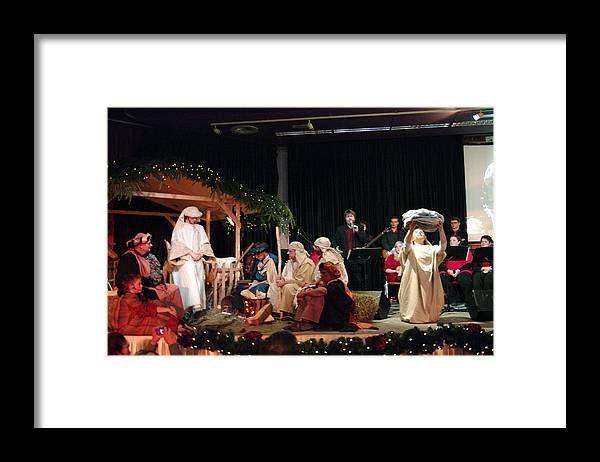 Thank You Framed Print featuring the photograph Christmas with nativity scene by Middelveld