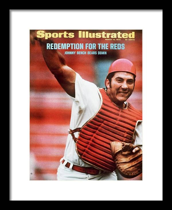 Magazine Cover Framed Print featuring the photograph Cincinnati Reds Johnny Bench Sports Illustrated Cover by Sports Illustrated