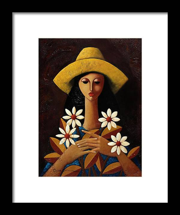 Puerto Rico Framed Print featuring the painting Cinco Margaritas by Oscar Ortiz