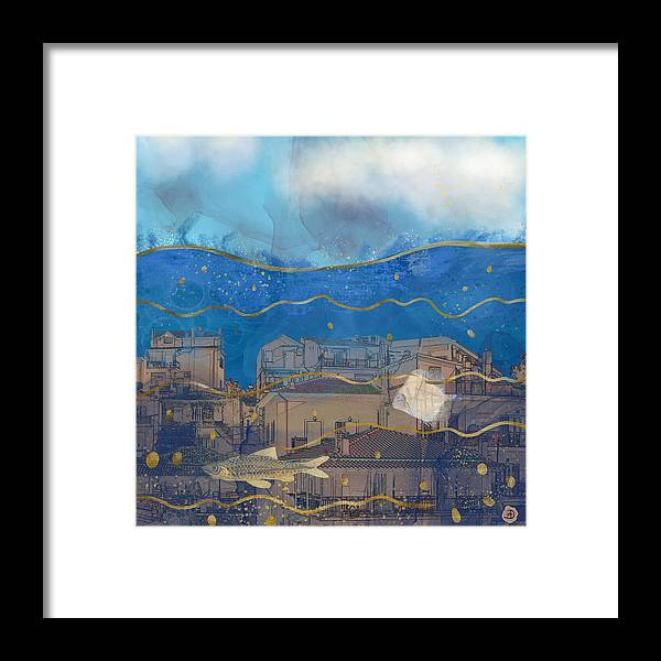 Global Warming Framed Print featuring the digital art Cities Under Water - Surreal Climate Change by Andreea Dumez