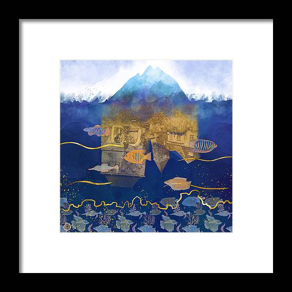 Climate Change Framed Print featuring the digital art City Under Water #2 - Climate Change Surrealism by Andreea Dumez
