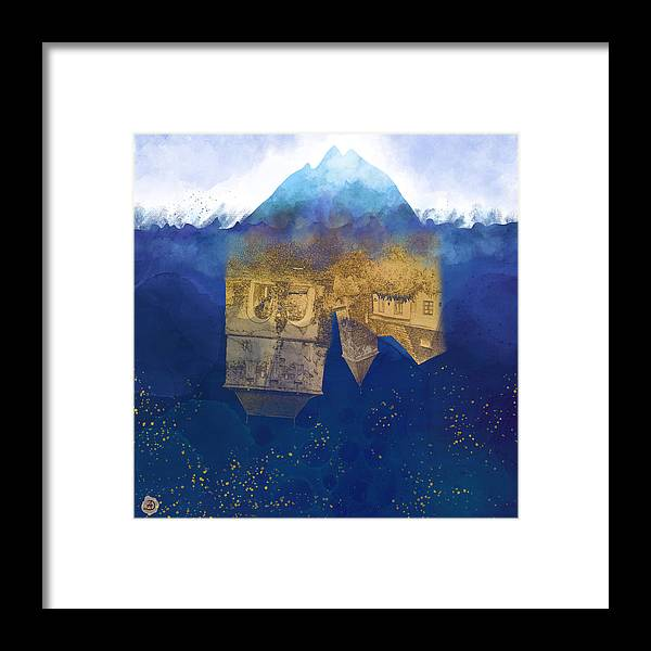 Climate Framed Print featuring the digital art City Under Water - Climate Change Surrealism by Andreea Dumez