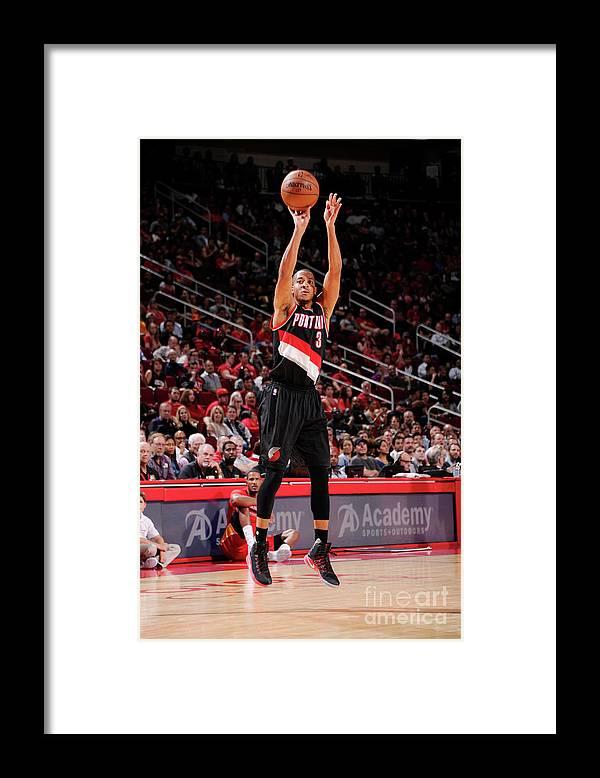 Nba Pro Basketball Framed Print featuring the photograph C.j. Mccollum by Bill Baptist