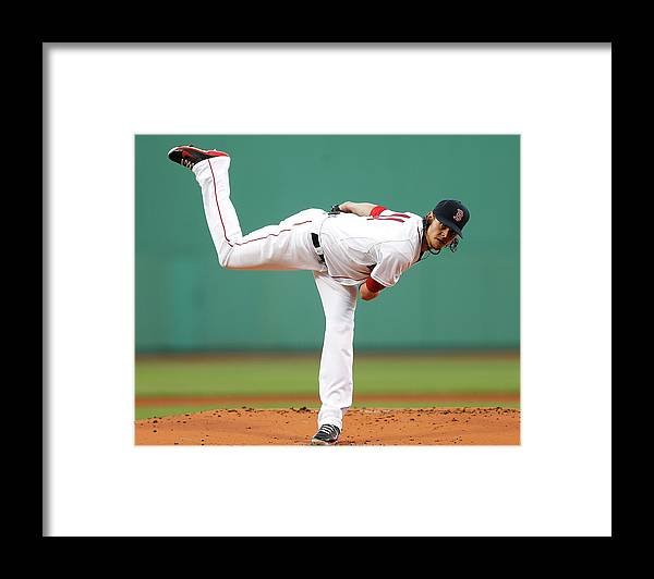 American League Baseball Framed Print featuring the photograph Clay Buchholz by Jim Rogash