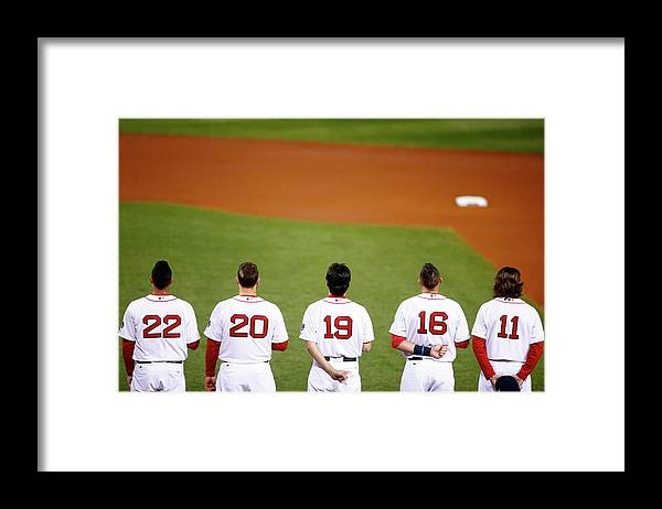 American League Baseball Framed Print featuring the photograph Clay Buchholz, Will Middlebrooks, and Koji Uehara by Jared Wickerham
