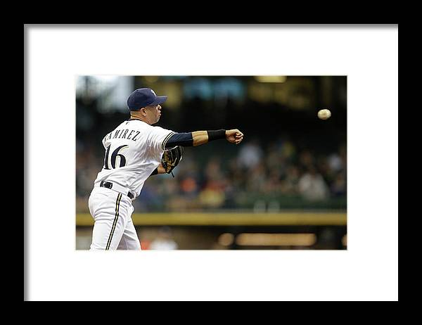 Second Inning Framed Print featuring the photograph Clayton Kershaw and Aramis Ramirez by Mike Mcginnis