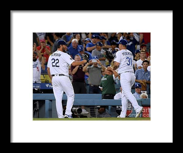 People Framed Print featuring the photograph Clayton Kershaw and Joc Pederson by Harry How