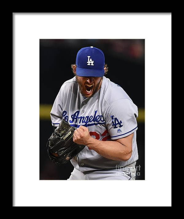 Three Quarter Length Framed Print featuring the photograph Clayton Kershaw and Nick Ahmed by Norm Hall