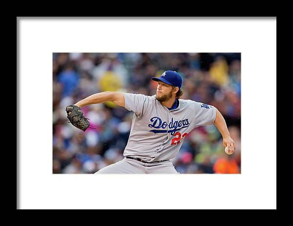 Second Inning Framed Print featuring the photograph Clayton Kershaw by Justin Edmonds