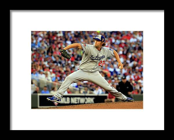 Clayton Kershaw Framed Print featuring the photograph Clayton Kershaw by Rob Carr