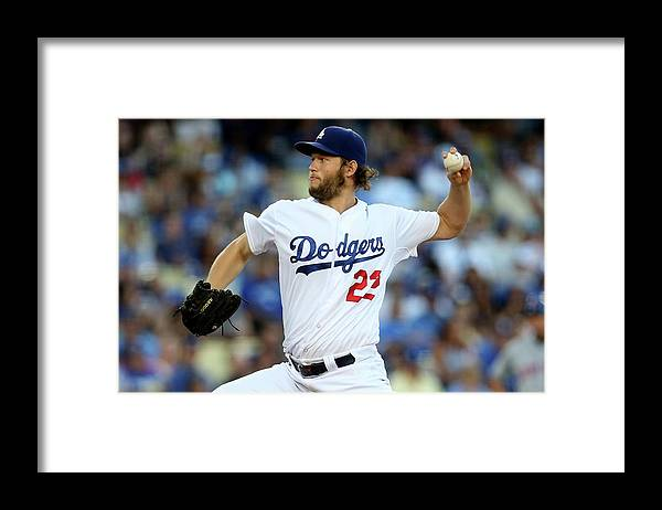 People Framed Print featuring the photograph Clayton Kershaw by Stephen Dunn