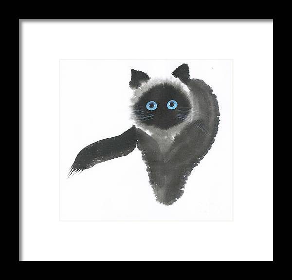 A Dignified Cat With Clear Eyes Is Starring Straight Ahead Intensely. It's A Contemporary Chinese Brush Painting On Rice Paper.  Framed Print featuring the painting Clear-Eye by Mui-Joo Wee