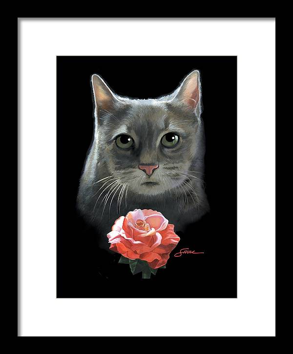 #cat Framed Print featuring the painting Cleo And The Rose by Harold Shull