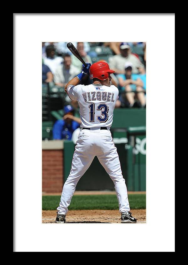 American League Baseball Framed Print featuring the photograph Cleveland Indians v Texas Rangers by Ronald Martinez