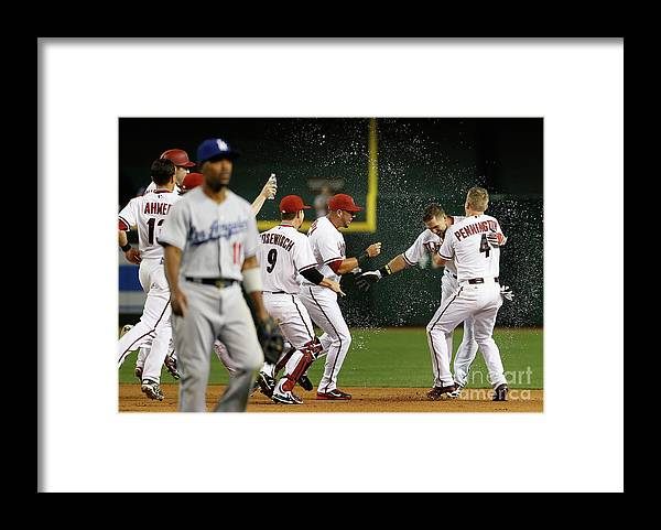 American League Baseball Framed Print featuring the photograph Cliff Pennington, Ender Inciarte, and David Peralta by Christian Petersen