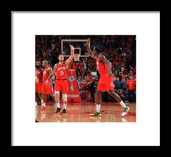 Nba Pro Basketball Framed Print featuring the photograph Clint Capela and Austin Rivers by Bill Baptist