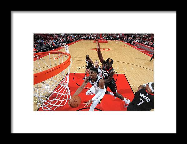 Nba Pro Basketball Framed Print featuring the photograph Clint Capela and Donovan Mitchell by Bill Baptist