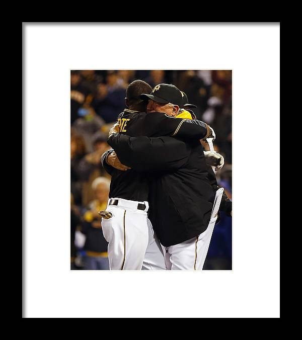 Ninth Inning Framed Print featuring the photograph Clint Hurdle And Starling Marte by Matt Sullivan