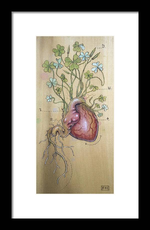 Clover Framed Print featuring the pyrography Clover Heart by Fay Helfer
