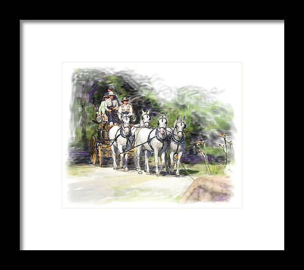 Horse Framed Print featuring the painting Coaching In Acadia- Carriage Driving Four In Hand by Connie Moses
