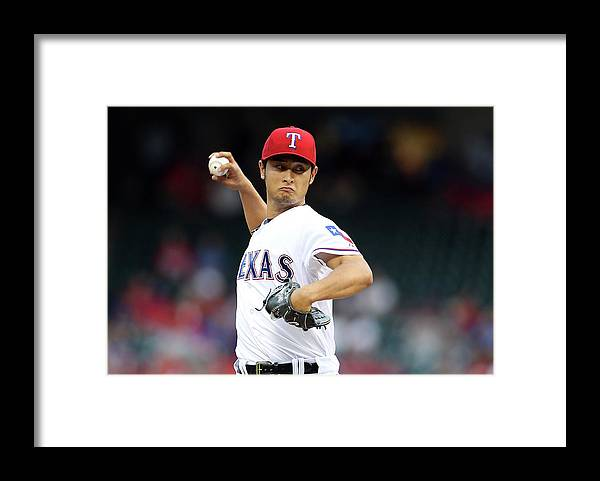 American League Baseball Framed Print featuring the photograph Coco Crisp and Yu Darvish by Rick Yeatts
