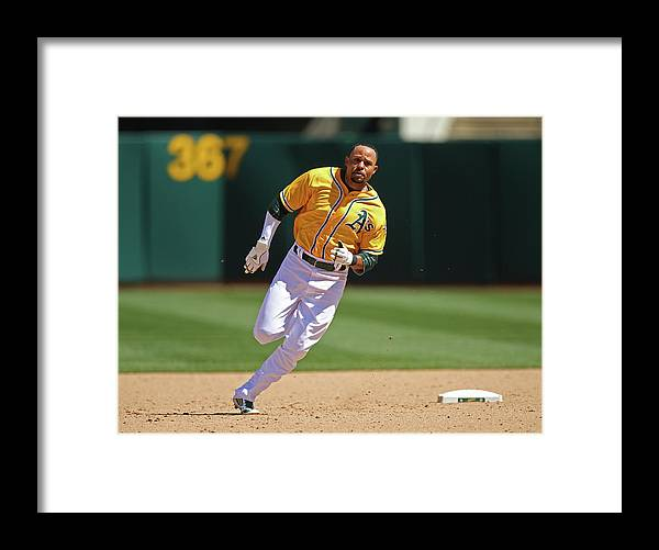 American League Baseball Framed Print featuring the photograph Coco Crisp by Brad Mangin