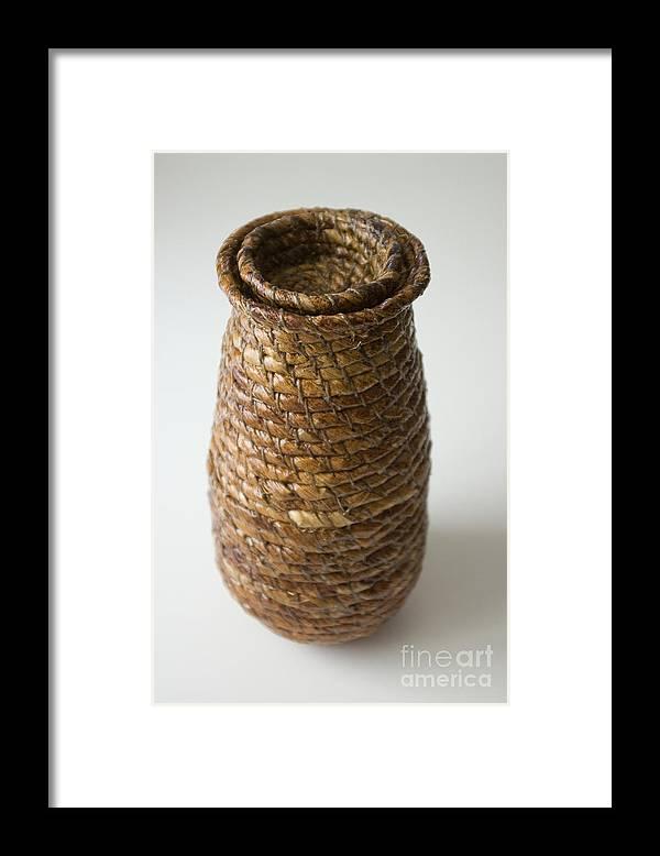 Banana-fibre Framed Print featuring the mixed media Cocoon Pod by Kerryn Madsen-Pietsch