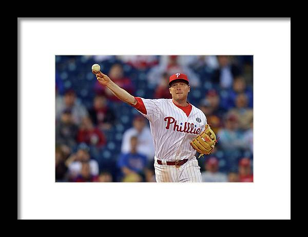 Ninth Inning Framed Print featuring the photograph Cody Asche by Drew Hallowell