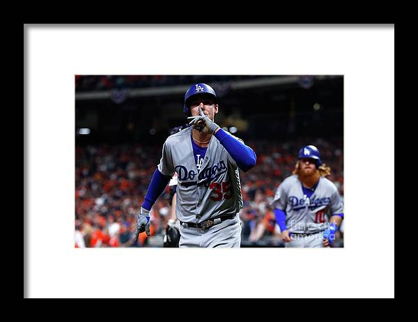 Three Quarter Length Framed Print featuring the photograph Cody Bellinger by Jamie Squire