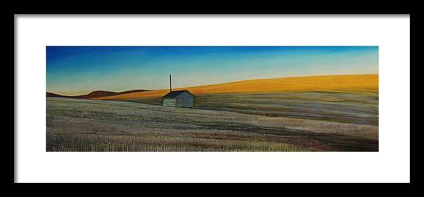 Wheat Framed Print featuring the painting Cold Field At Dusk by Leonard Heid