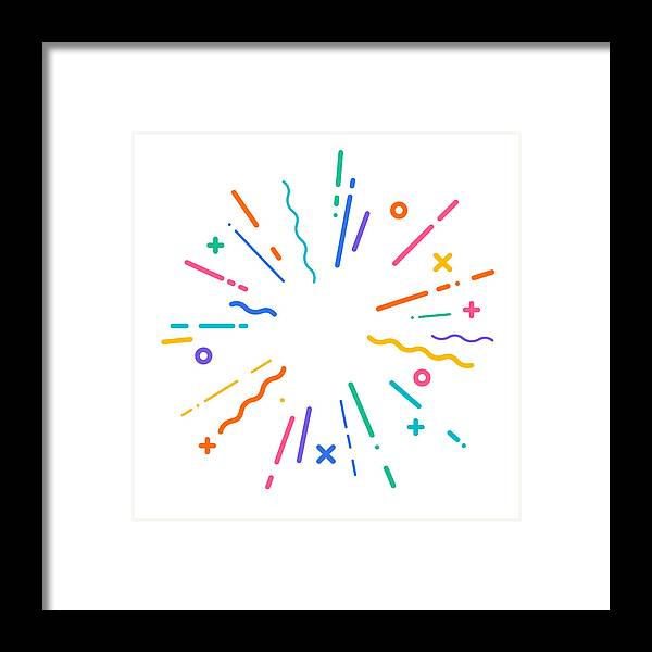 Hyphen Framed Print featuring the drawing Colorful Modern Explosion by Filo