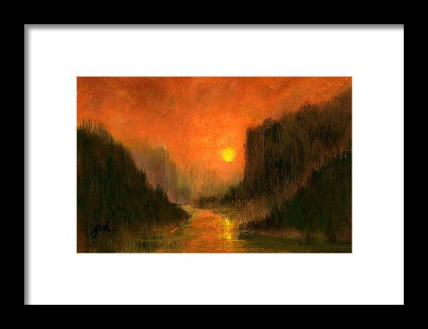 Miniatures Oil Paintings Framed Print featuring the painting Columbia Gorge Nocturn by Jim Gola