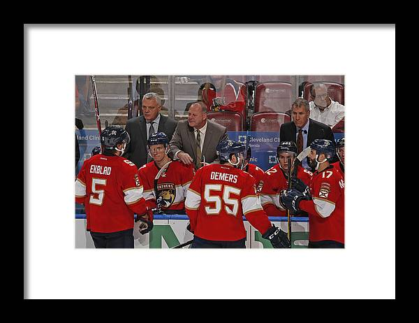 National Hockey League Framed Print featuring the photograph Columbus Blue Jackets v Florida Panthers by Joel Auerbach