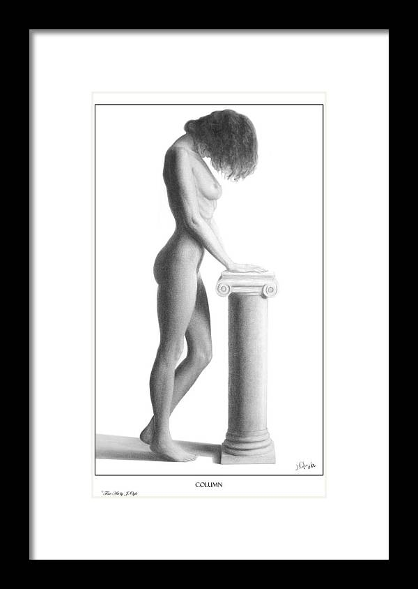 Print Framed Print featuring the drawing Column by Joseph Ogle