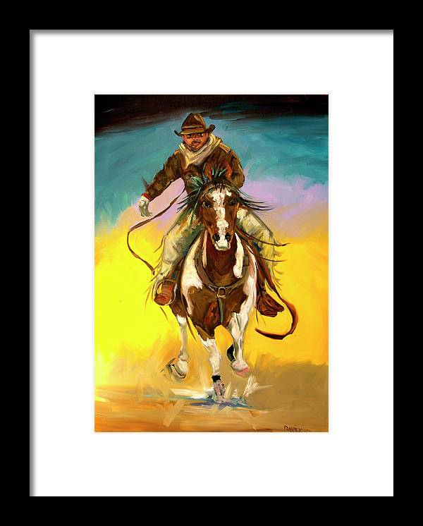 Cowboy Framed Print featuring the painting Coming at You by Diane Whitehead