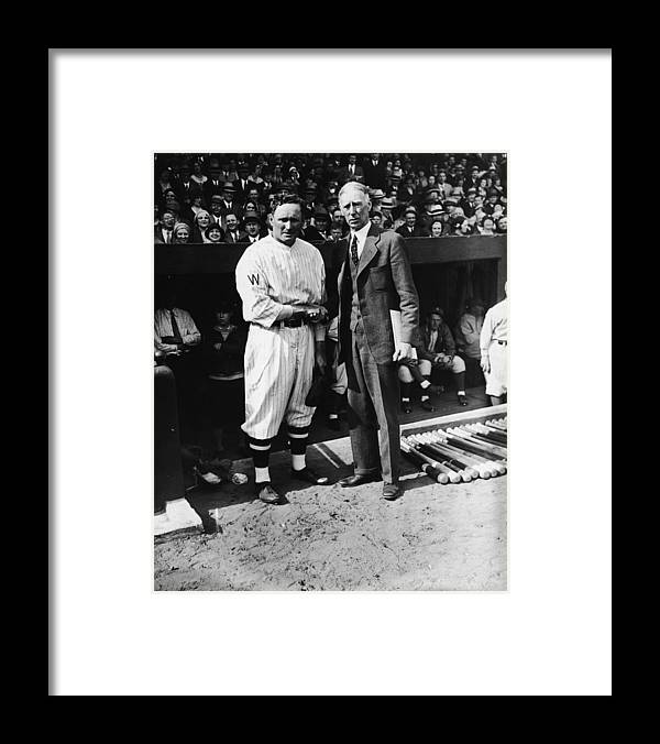 Crowd Framed Print featuring the photograph Connie Mack, Ty Cobb, and Walter Johnson by Fpg