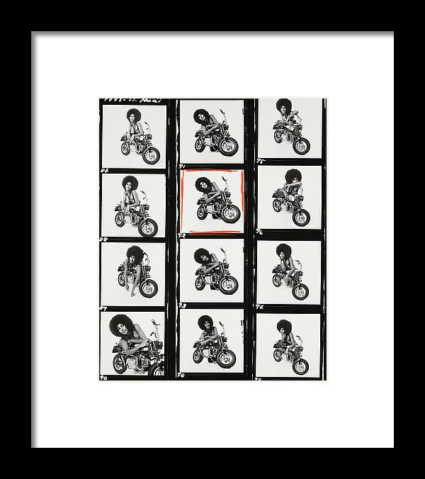 Model Framed Print featuring the photograph Contact Sheet of Marsha Hunt with a Motorbike by Patrick Lichfield
