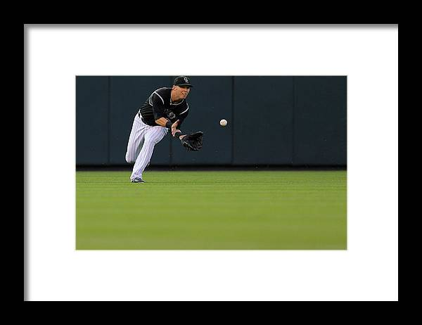Catching Framed Print featuring the photograph Corey Dickerson by Justin Edmonds