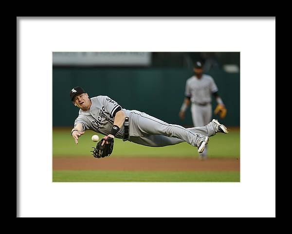 American League Baseball Framed Print featuring the photograph Craig Gentry and Gordon Beckham by Thearon W. Henderson