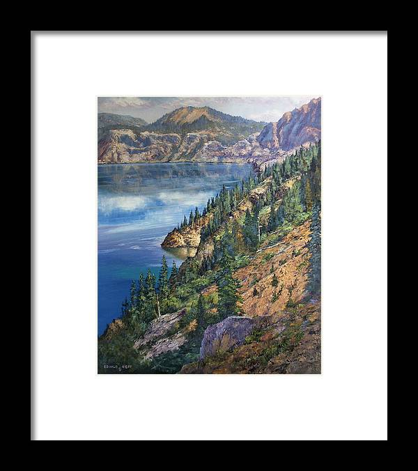 Crater Lake Oregon Framed Print featuring the painting Crater Lake Overlook by Donald Neff