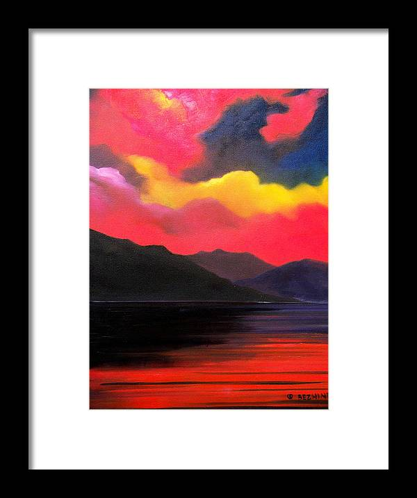 Surreal Framed Print featuring the painting Crimson clouds by Sergey Bezhinets