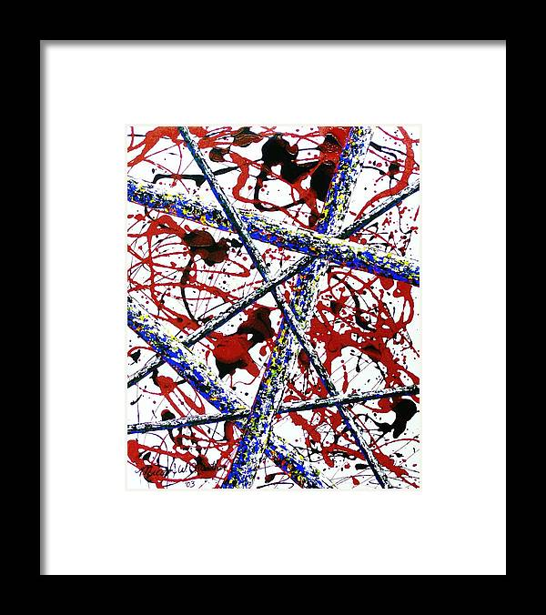 Contemporary / Abstract Framed Print featuring the painting Criss-Cross by Micah Guenther