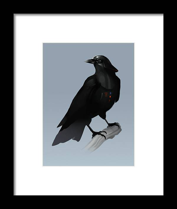 Birds Framed Print featuring the digital art Crow Vader by Michael Myers