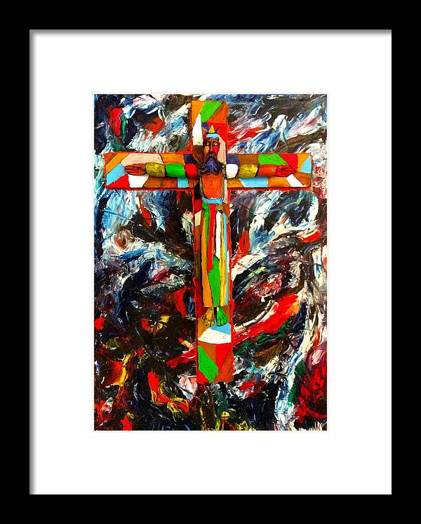Crucifixion Framed Print featuring the mixed media Crucifixion by Biagio Civale