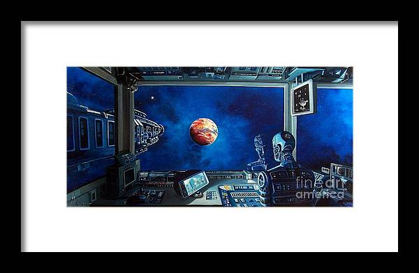 Fantasy Framed Print featuring the painting Crying Robot by Murphy Elliott