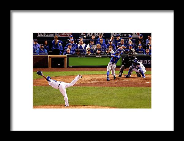 People Framed Print featuring the photograph Curtis Granderson and Edinson Volquez by Christian Petersen