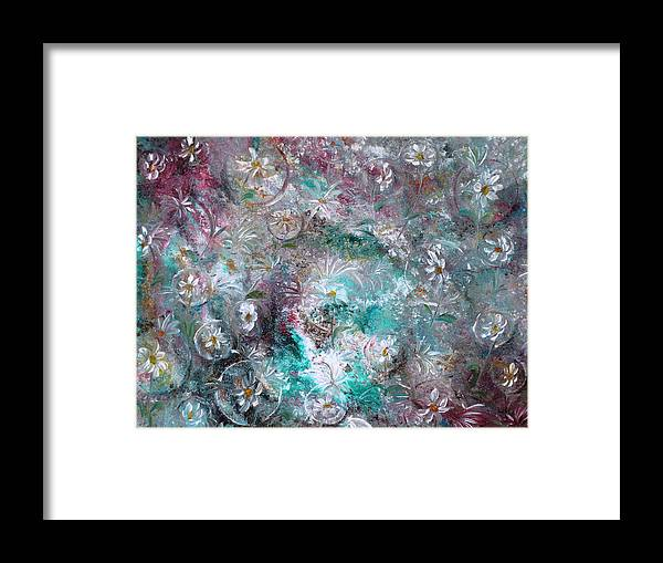 Original Flower Abstract Painting Framed Print featuring the painting Daisy Dreamz by Karin Dawn Kelshall- Best