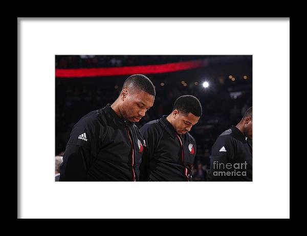 Nba Pro Basketball Framed Print featuring the photograph Damian Lillard and C.j. Mccollum by Sam Forencich